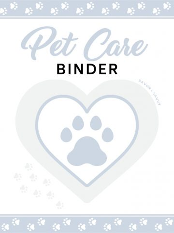 Adorable pet care binder cover sheet with paw prints and a grey heat