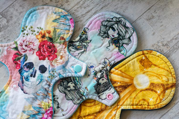 selection of cloth pads with snaps to keep it in place