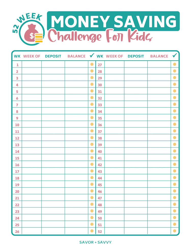 full sized printable of the money saving challenge for kids.