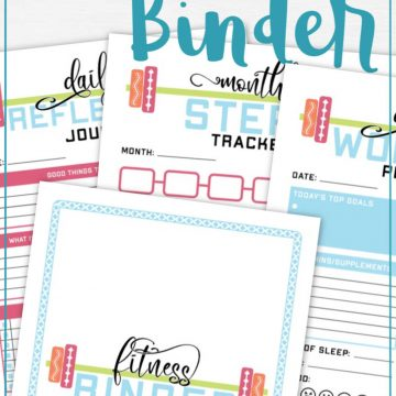 several pages of the health and fitness binder stacked on a white background