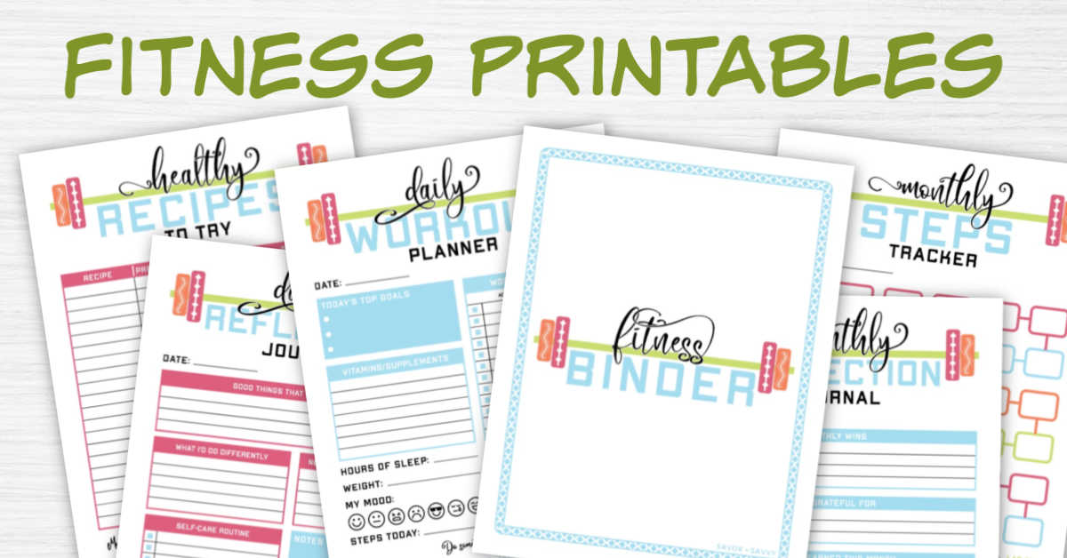 health and fitness printables on a white background