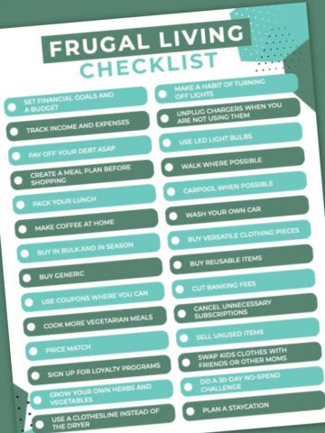 frugal living checklist on a green background
