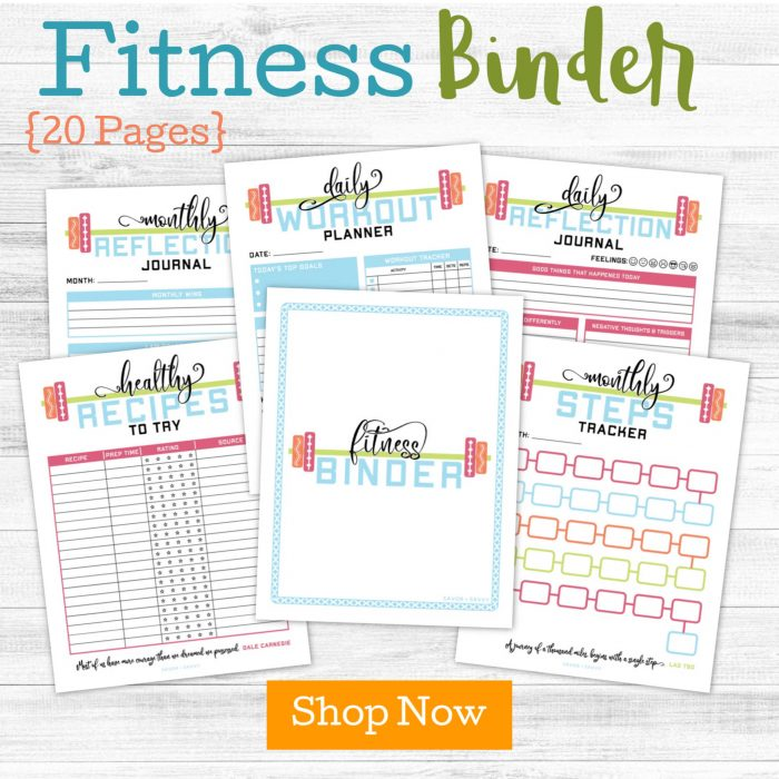 fitness related printables with a order now button