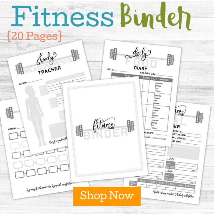 fitness related printables with a order now button and grey scale
