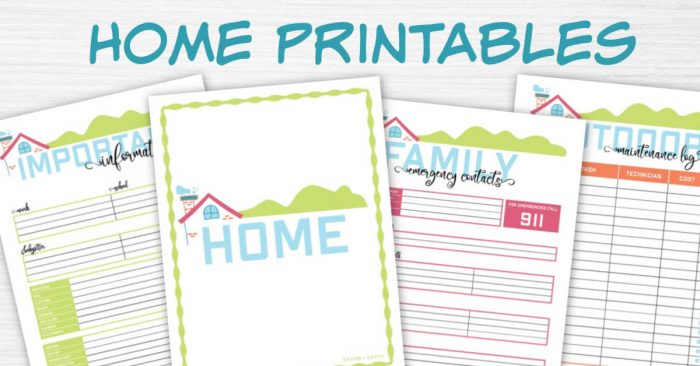 home printables section