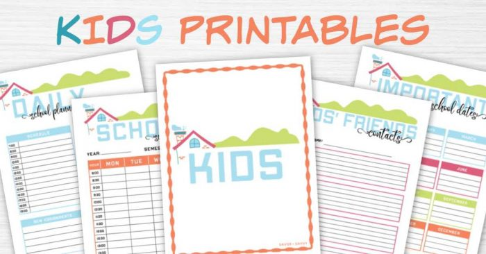 kids printables section