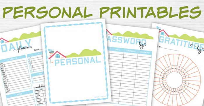 personal printables section