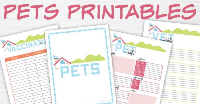 pets printable section