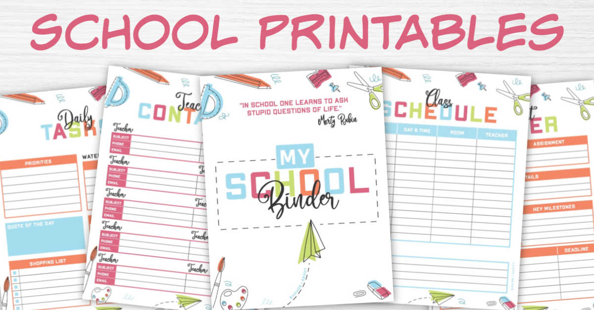 five printable pages in this school binder