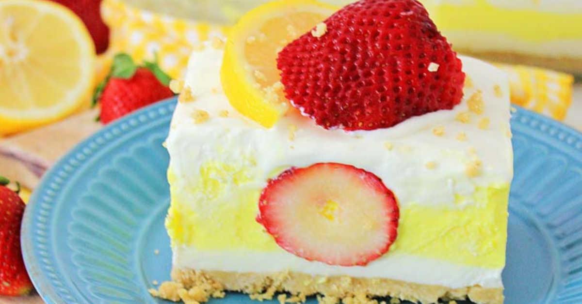 lemon strawberry dream bar on a plate