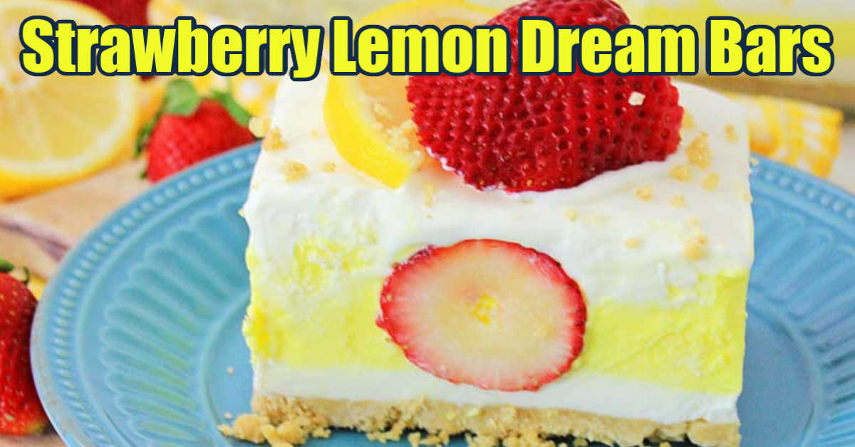 lemon and strawberry dream bar on a plate with fresh slices of fruit