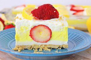 closeup of the strawberry and lemon dream bar