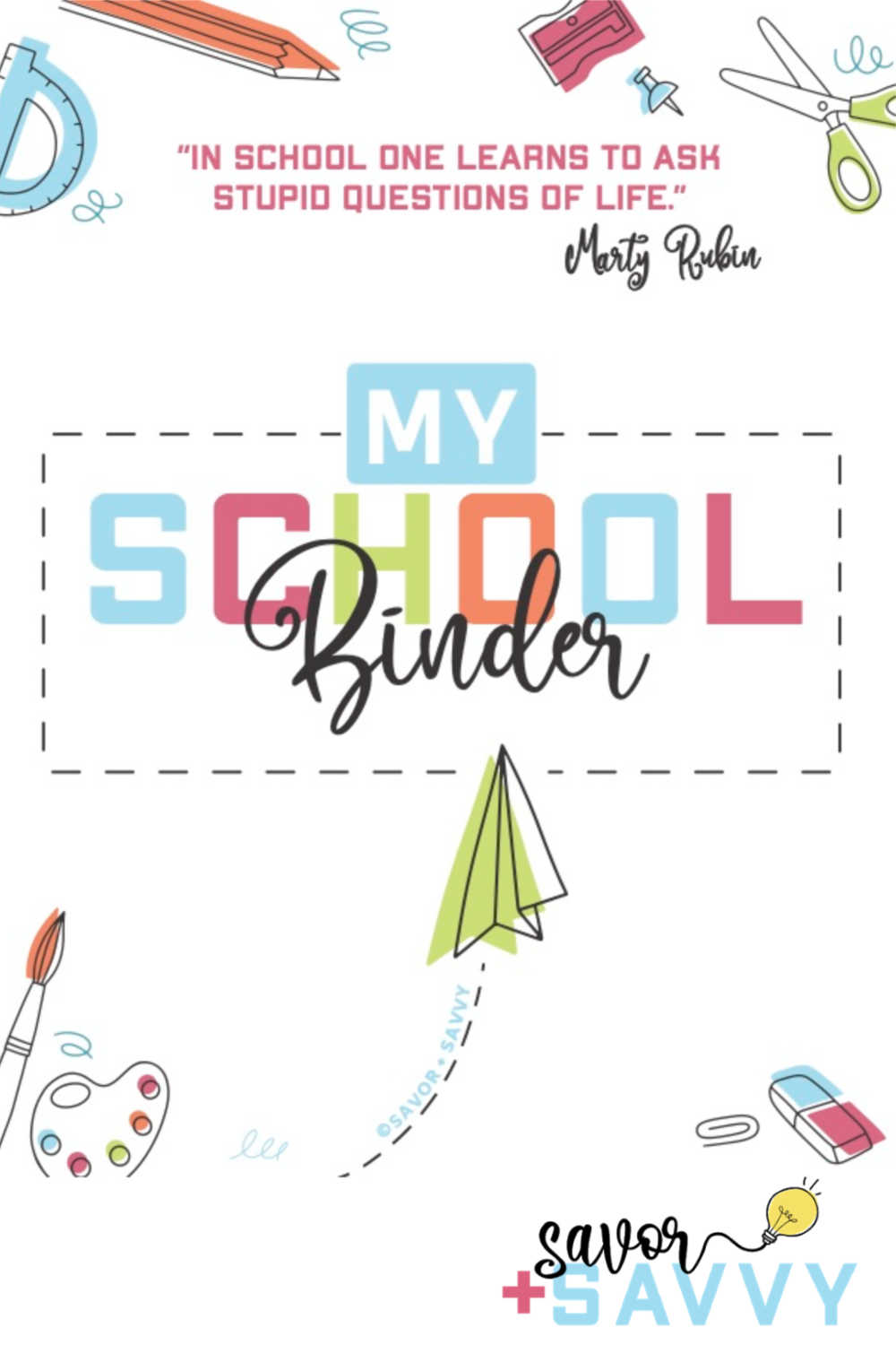 cover sheet of the student and school binder