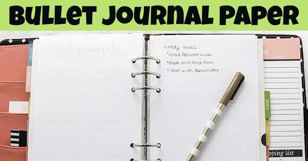 day planner opened up with the printed dot grid paper to practice your own bullet journaling