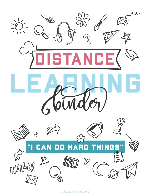 distance learning binder cover sheet with fun doodles and inspirational quote