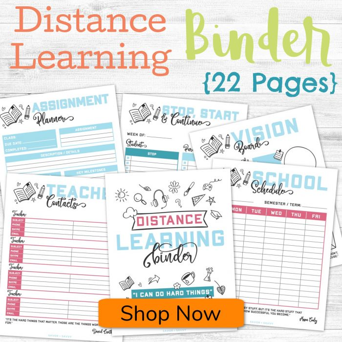 pages of the distance learning binder over a white background with a button to shop now