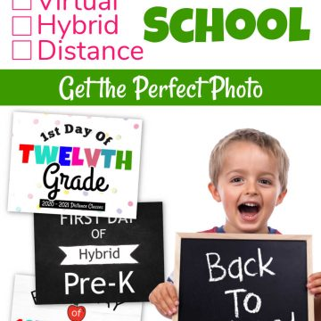 little boy with a back to school sign and three free printables