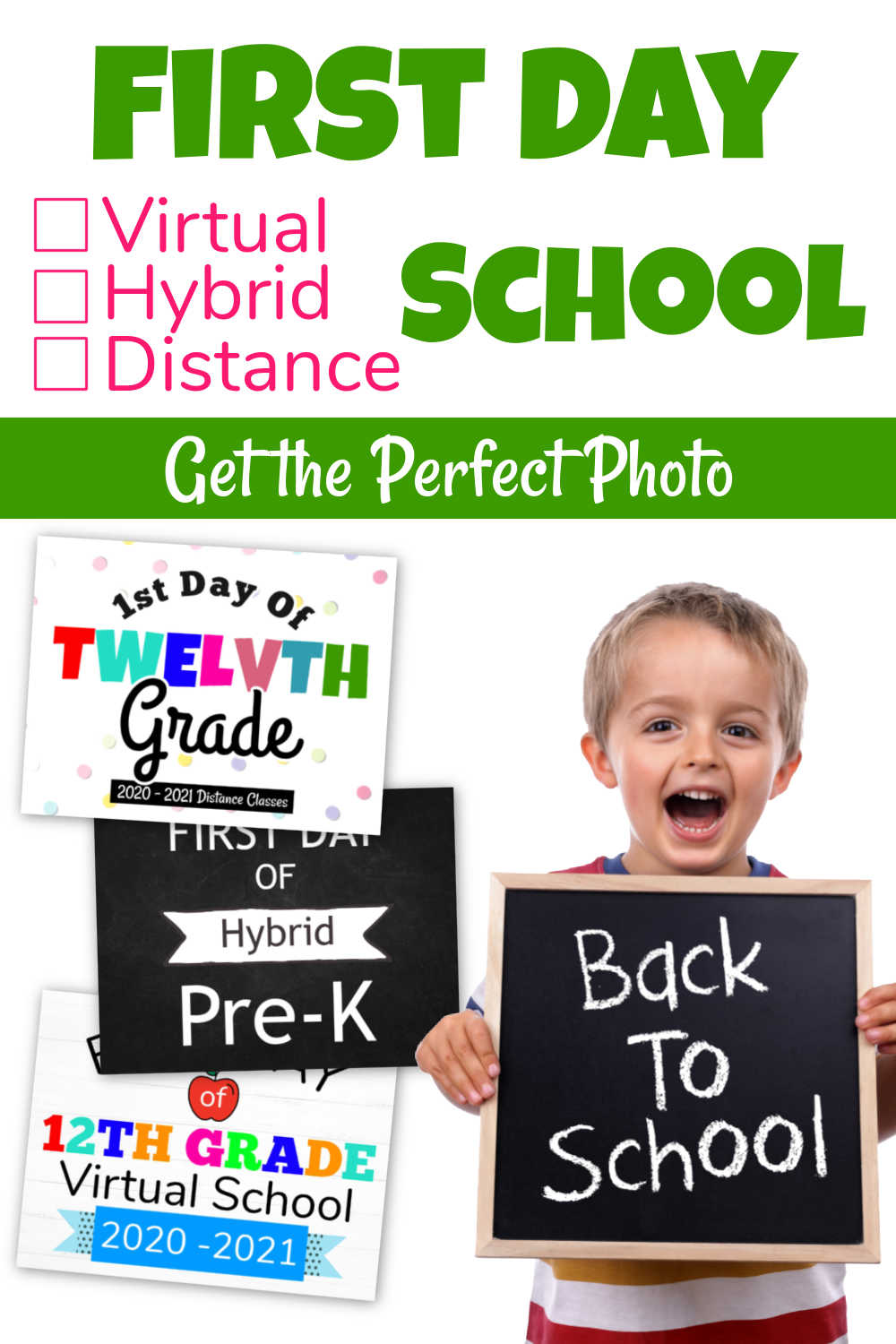 First Day of School Signs - Distance Learning, Virtual, Hybrid