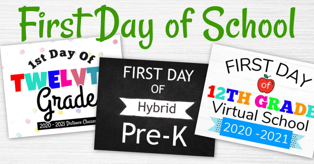 three free printable signs for the first day of classes