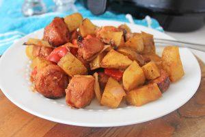 plate piled high with air fryer kielbasa