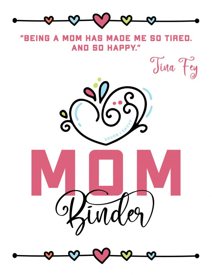 cover sheet for the mom binder