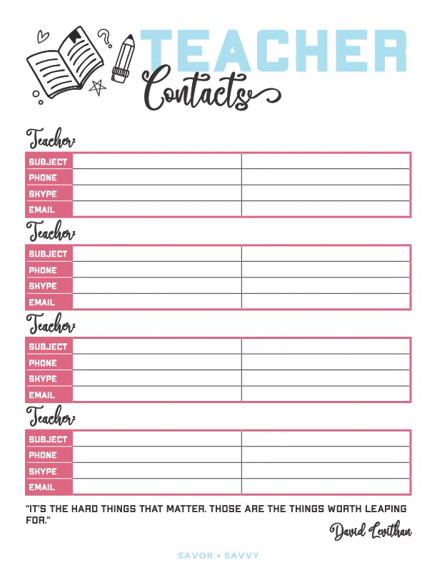 teacher contacts printable page
