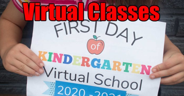 girl holding sign for the first day of virtual classes