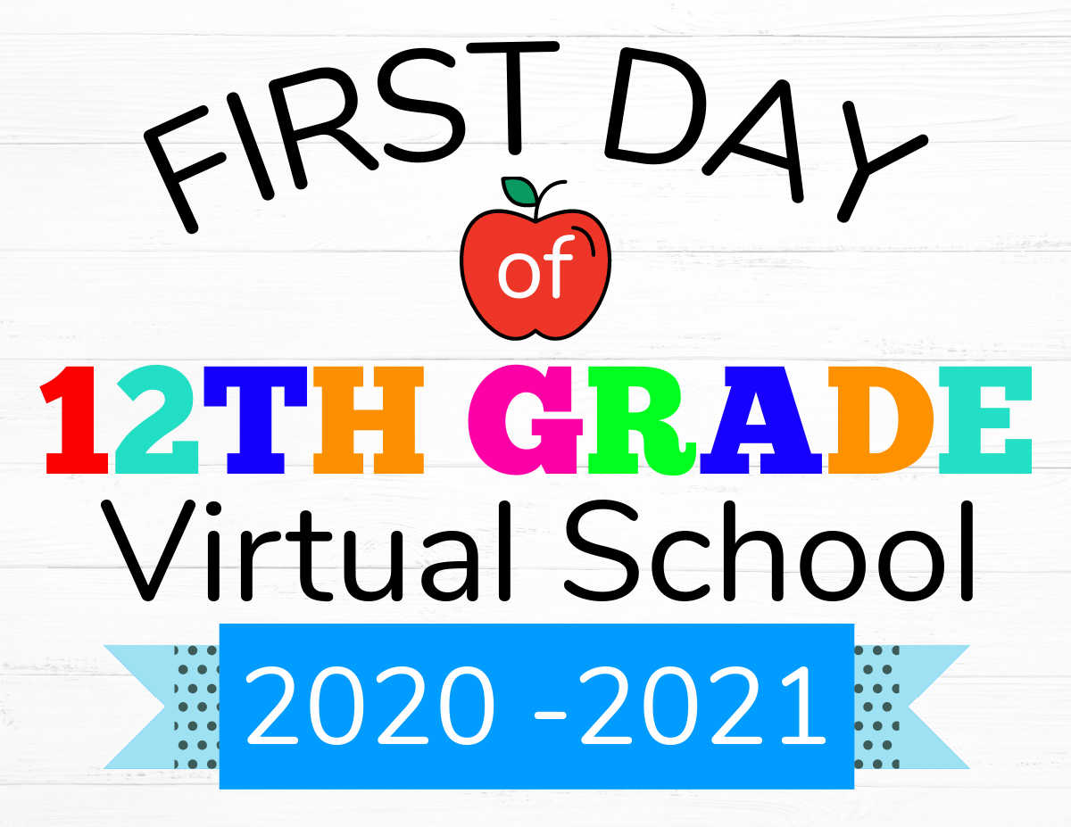 first day of virtual school printable with an apple in the center