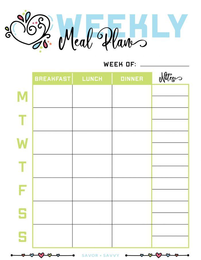 cute weekly meal plan worksheet