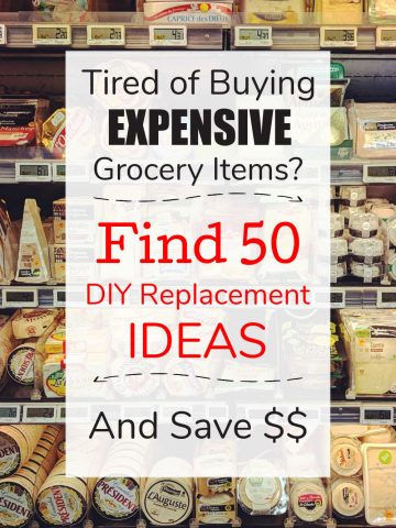 shelves of a grocery store with test overlay on how to save money by replacing purchase grocery items with DIY replacements