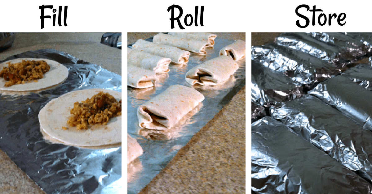 three photos showing filling the burritos, rolling them and then wrapping in foil for the freezer