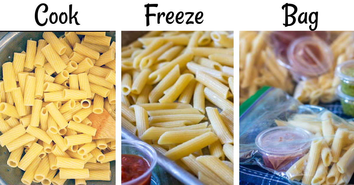 three process shots showing to cook the pasta, freeze it on a baking sheet, and then bag them in ziploc bags.