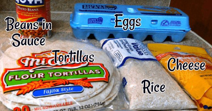 All of the ingredients for the breakfast burritos laid out on the counter