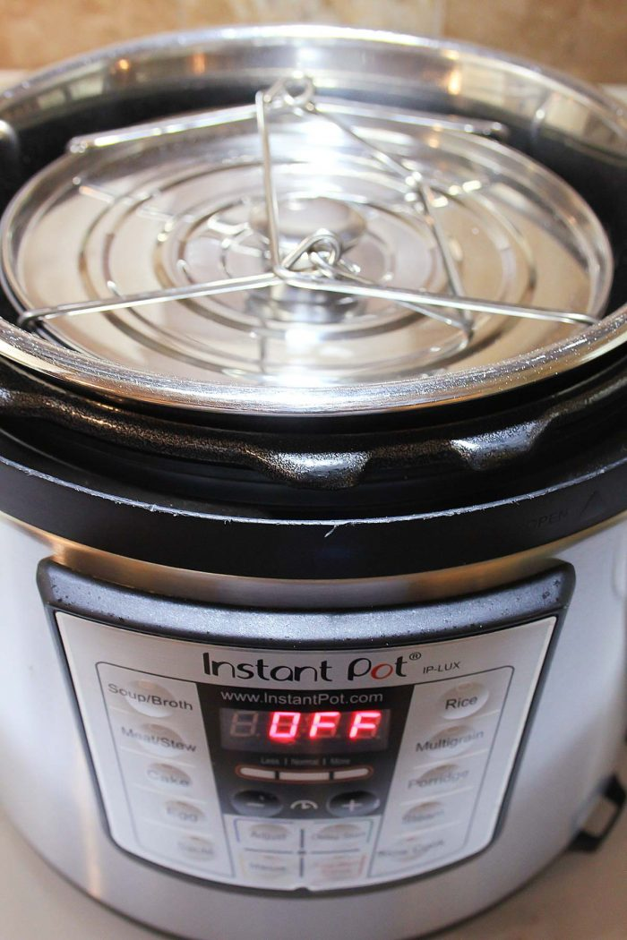 steamer baskets in the sling inside the instant pot
