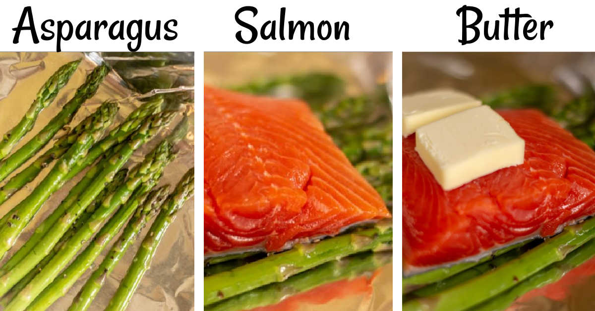 three process shots showing how to layer the salmon and asparagus in the foil packs