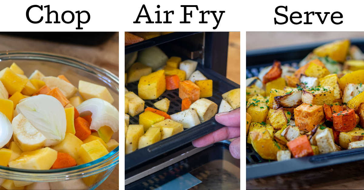 three photos showing the root vegetables chopped an in a bowl, inserted into the air fryer and served.