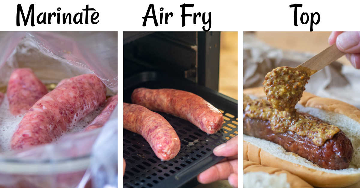 three photos showing the marinating, the air frying and the topping of the brats