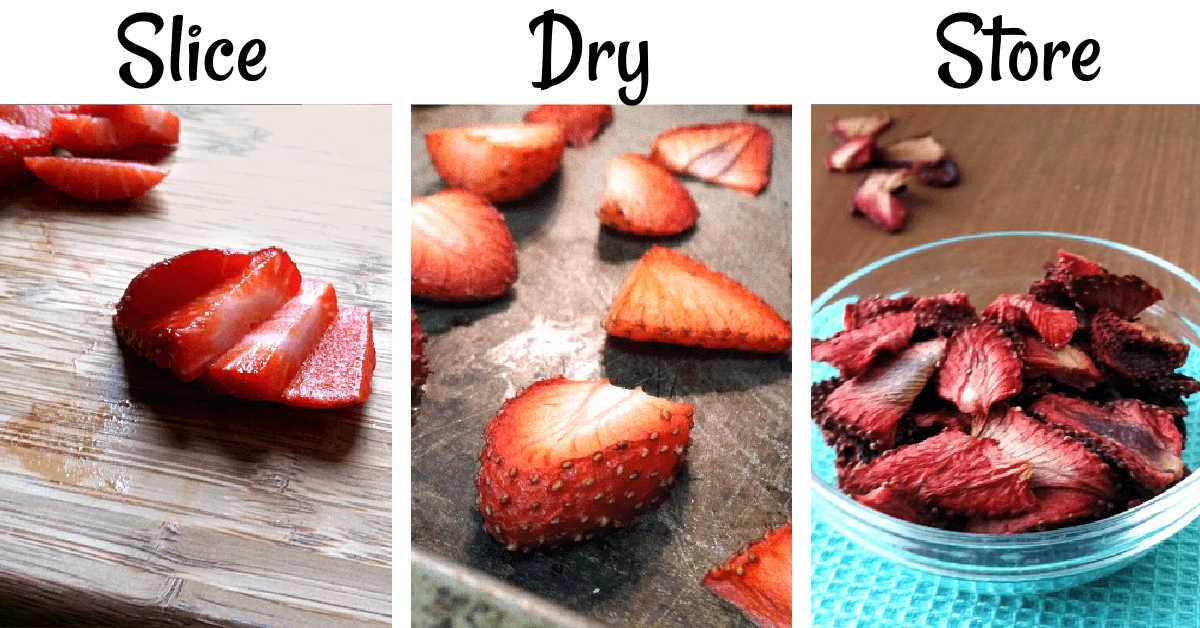three process shot photos showing the strawberries being sliced, dried and then stored