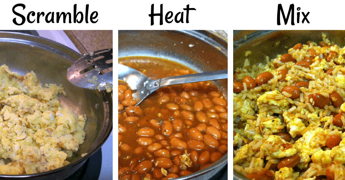 three photos showing scrambling the eggs, heating the beans and then mixing them together to serve as the filling for the breakfast burrito