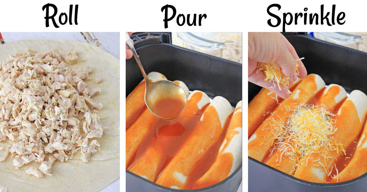 three process photos showing adding the chicken to the tortilla, rolling and placing in the basket and pouring sauce, and then sprinkling with cheese