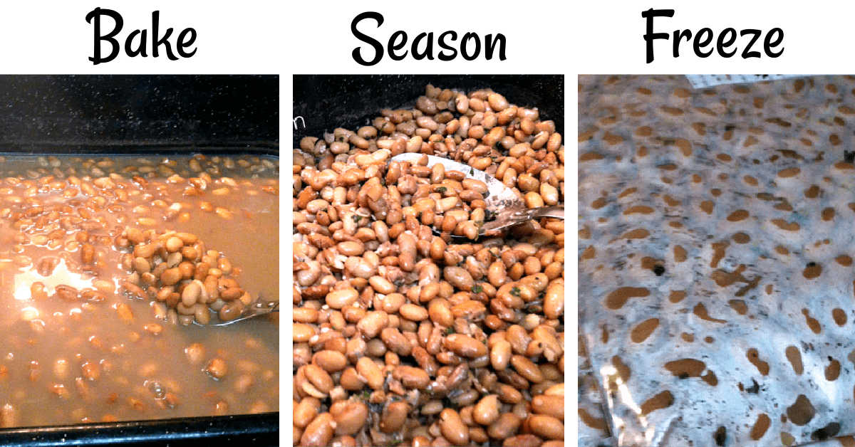 compilation of three photos showing how to soak, bake, season and freeze dried beans