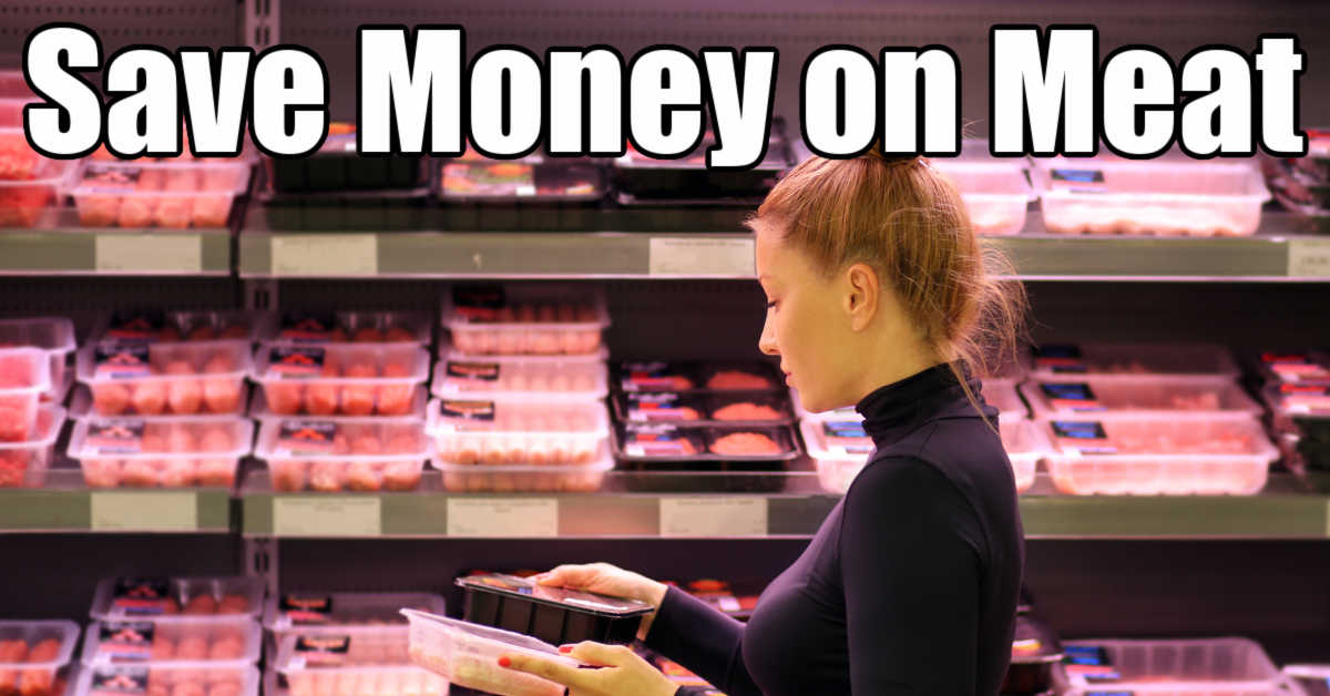 woman shopping for meat sales comparing prices