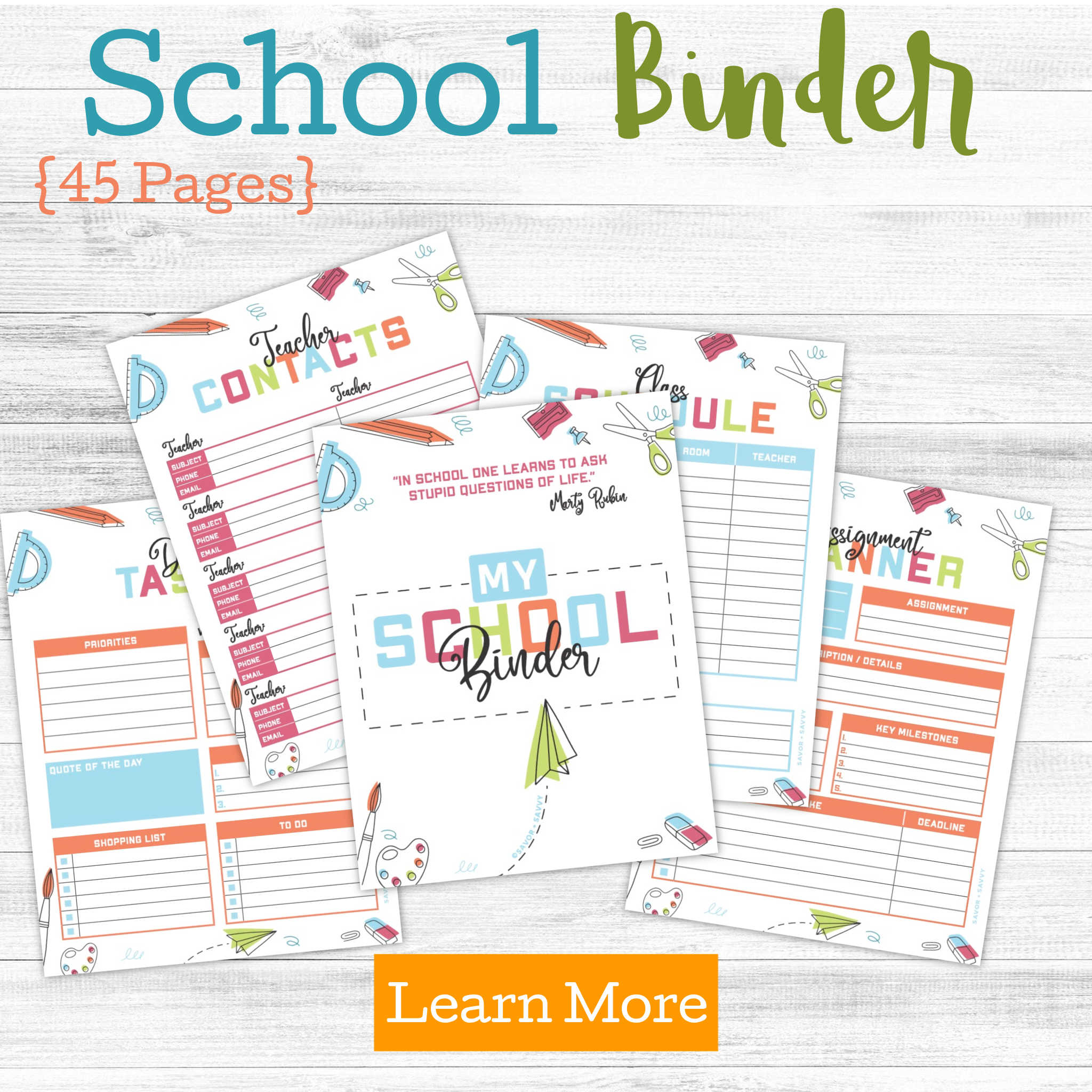 printable pages for the school binder and a Learn More Button
