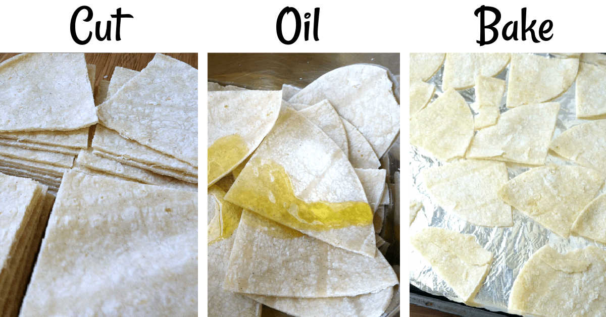 three process steps to show how the tortillas are turned into baked chips.