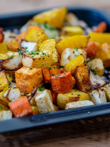 tray with root vegetables after being in the air fryer