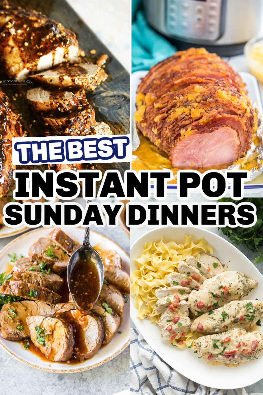 Instant pot recipes in a collage with words on top.