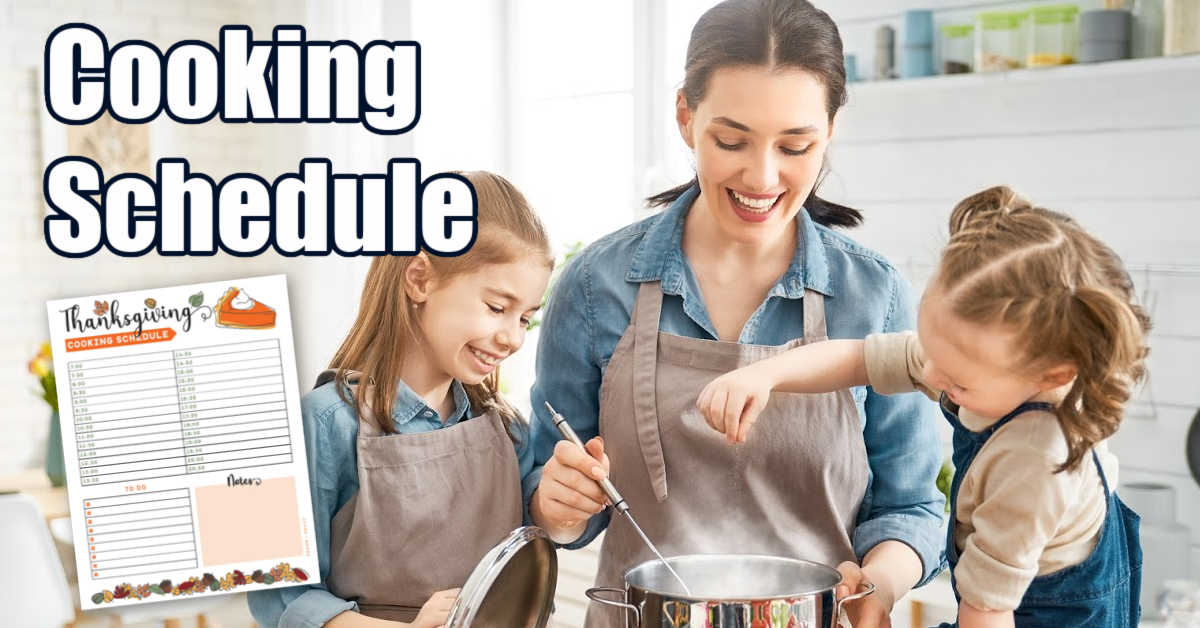 mom and girls cooking in the kitchen with a cooking schedule worksheet