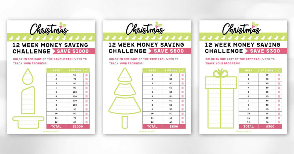 three Christmas Savings Printables with 12 week guides to save