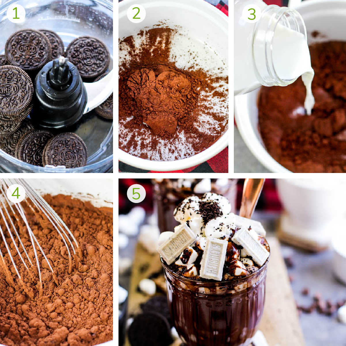 simple instructions including crushing oreos, adding powder and milk and assembling
