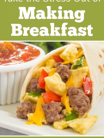 breakfast burrito with salsa and text on how to meal prep for the week